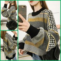 Cable Knit Short Stripes Zigzag Casual Style Dolman Sleeves