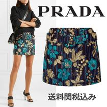 PRADA Pencil Skirts Flower Patterns Elegant Style Skirts