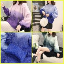 Cable Knit Casual Style Tie-dye U-Neck Medium Puff Sleeves