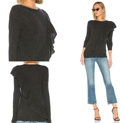 Crew Neck Casual Style Cashmere Long Sleeves Plain Medium