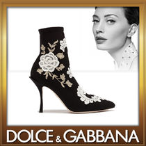 Dolce & Gabbana Flower Patterns Plain Pin Heels Elegant Style