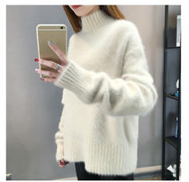 Casual Style Long Sleeves Plain Medium Turtlenecks