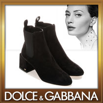 Dolce & Gabbana Suede Plain Block Heels Elegant Style Ankle & Booties Boots
