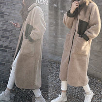 Casual Style Faux Fur Blended Fabrics Plain Long Oversized