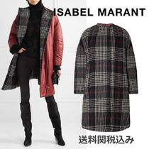 Isabel Marant Tartan Wool Blended Fabrics Plain Medium Oversized