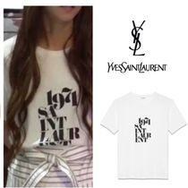 Saint Laurent Short Street Style U-Neck Plain Cotton Short Sleeves Cropped