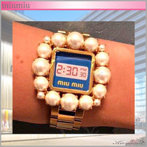 MiuMiu Blended Fabrics Metal Square Elegant Style Digital Watches