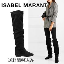 Isabel Marant Round Toe Suede Plain Elegant Style Over-the-Knee Boots