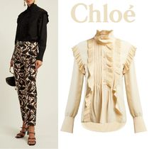 Chloe Silk Long Sleeves Plain Medium Elegant Style