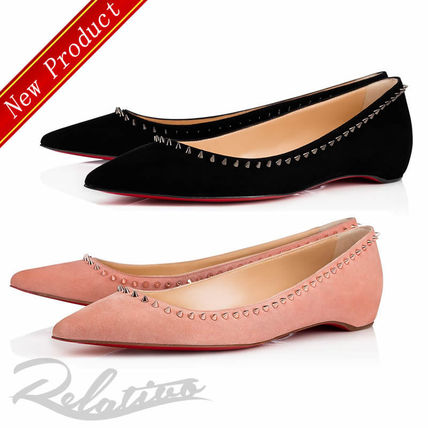 91df60e4a3eb ... Christian Louboutin Slip-On Suede Studded Plain Elegant Style Slip-On  Shoes ...