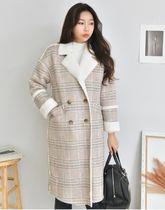 Glen Patterns Long Fur Leather Jackets Cashmere & Fur Coats