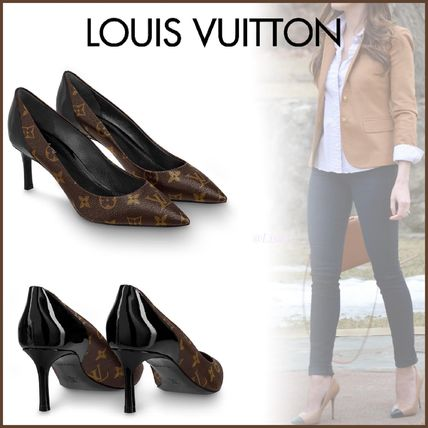 Louis Vuitton Pointed Toe Monogram Blended Fabrics Bi-color Leather Pin Heels