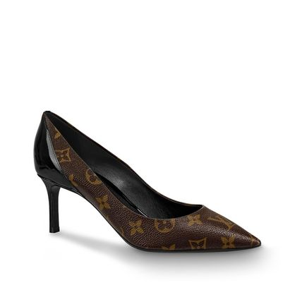 Louis Vuitton Pointed Toe Monogram Blended Fabrics Bi-color Leather Pin Heels 2
