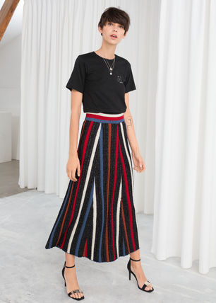 Stripes Casual Style Wool Midi Skirts