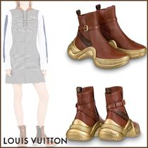 Louis Vuitton Monogram Plain Toe Rubber Sole Blended Fabrics Bi-color