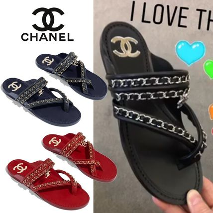 1a6370a4ea68 CHANEL 2019 SS Casual Style Chain Plain Leather Sandals by filllove ...