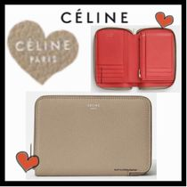 CELINE Classic Unisex Calfskin Bi-color Plain Folding Wallets