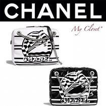 CHANEL ICON Stripes Casual Style Blended Fabrics Street Style 2WAY Chain