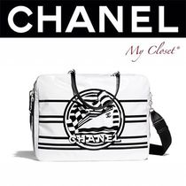 CHANEL ICON Stripes Casual Style Blended Fabrics Street Style 2WAY