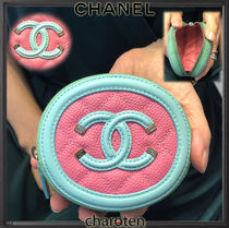 CHANEL ICON Calfskin Bi-color Plain Coin Purses