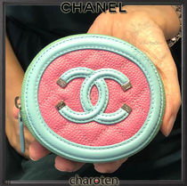 CHANEL ICON Calfskin Bi-color Plain Small Wallet Coin Cases