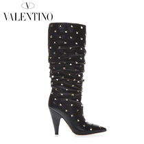 VALENTINO Casual Style Studded Plain Leather High Heel Boots
