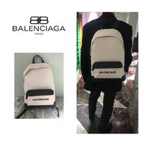 BALENCIAGA NAVY Unisex Canvas A4 Plain Backpacks