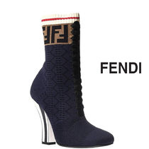 FENDI Casual Style Block Heels Ankle & Booties Boots