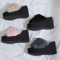 Square Toe Casual Style Studded Street Style Slippers