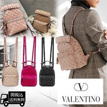 VALENTINO Casual Style Studded 3WAY Plain Leather Backpacks