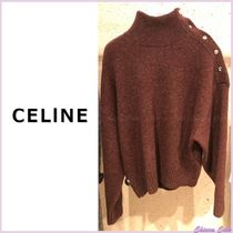CELINE Short Wool Long Sleeves Plain High-Neck Elegant Style Bold