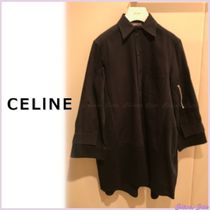 CELINE Casual Style Bi-color Long Sleeves Plain Cotton Long