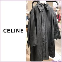 CELINE Stand Collar Coats Plain Long Oversized Elegant Style Coats