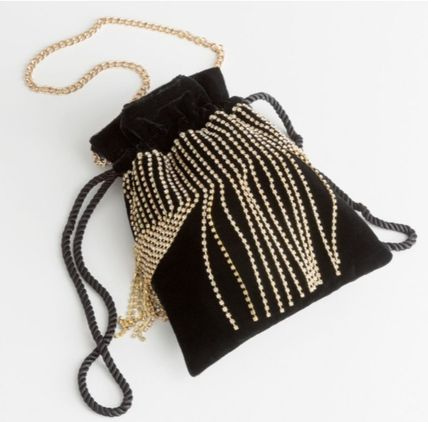 2WAY Chain Plain Party Style Purses With Jewels Party Bags