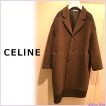 CELINE Casual Style Wool Bi-color Plain Long Oversized Coats