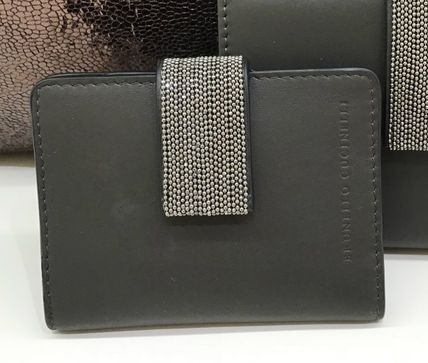 Calfskin Blended Fabrics Plain With Jewels Card Holders