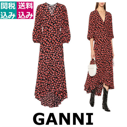 Wrap Dresses Flower Patterns Casual Style Street Style