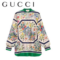 GUCCI Flower Patterns Casual Style Silk Long Sleeves Long