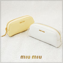 MiuMiu MADRAS Plain Leather Pouches & Cosmetic Bags