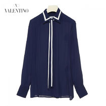 VALENTINO Stripes Casual Style Silk Long Sleeves Medium