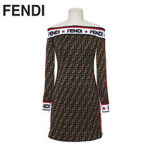 FENDI Short Monogram Tight Cotton Party Style Dresses