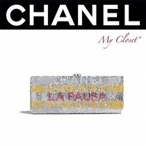 CHANEL ICON Blended Fabrics Street Style Bi-color Party Style