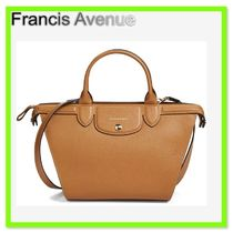 Longchamp LE PLIAGE HERITAGE Collaboration 2WAY Plain Leather Handbags