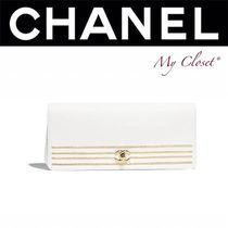 CHANEL ICON Calfskin Blended Fabrics Street Style Plain Party Style