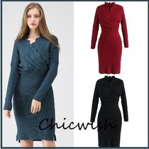 Chicwish Casual Style Tight V-Neck Long Sleeves Plain Medium Dresses