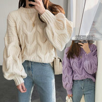 Crew Neck Cable Knit Casual Style Medium Oversized