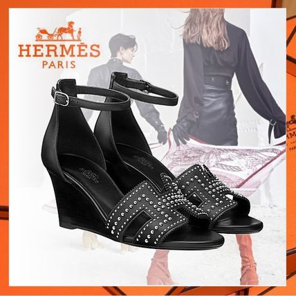 c35a50f262d6 ... HERMES Platform   Wedge Open Toe Studded Plain Leather Elegant Style ...