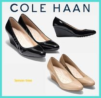 Cole Haan Plain Toe Enamel Plain Wedge Pumps & Mules