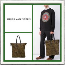 Dries Van Noten Camouflage Canvas A4 Totes