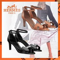 HERMES Open Toe Studded Plain Leather Pin Heels With Jewels
